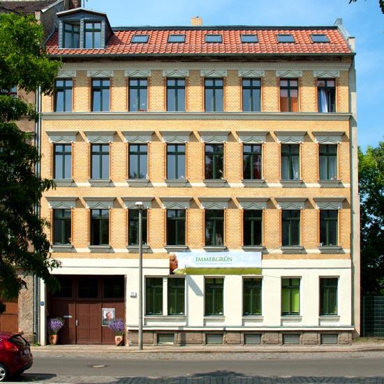 """Außenansicht des """"Immergrün"""" in der Schulze-Delitzsch-Str. 29, im Leipziger Stadtteil Neustadt-Schönfeld"""